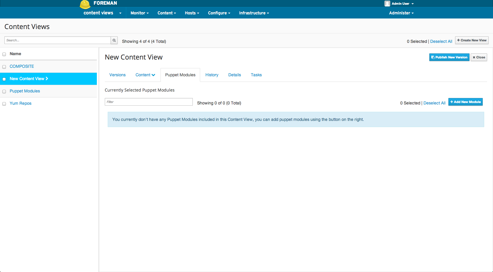 Adding a puppet module to a Content View