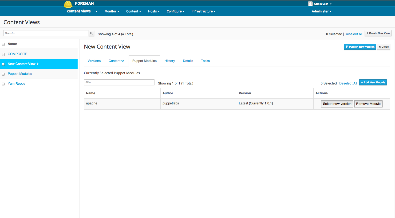 Adding a puppet module to a Content View 4