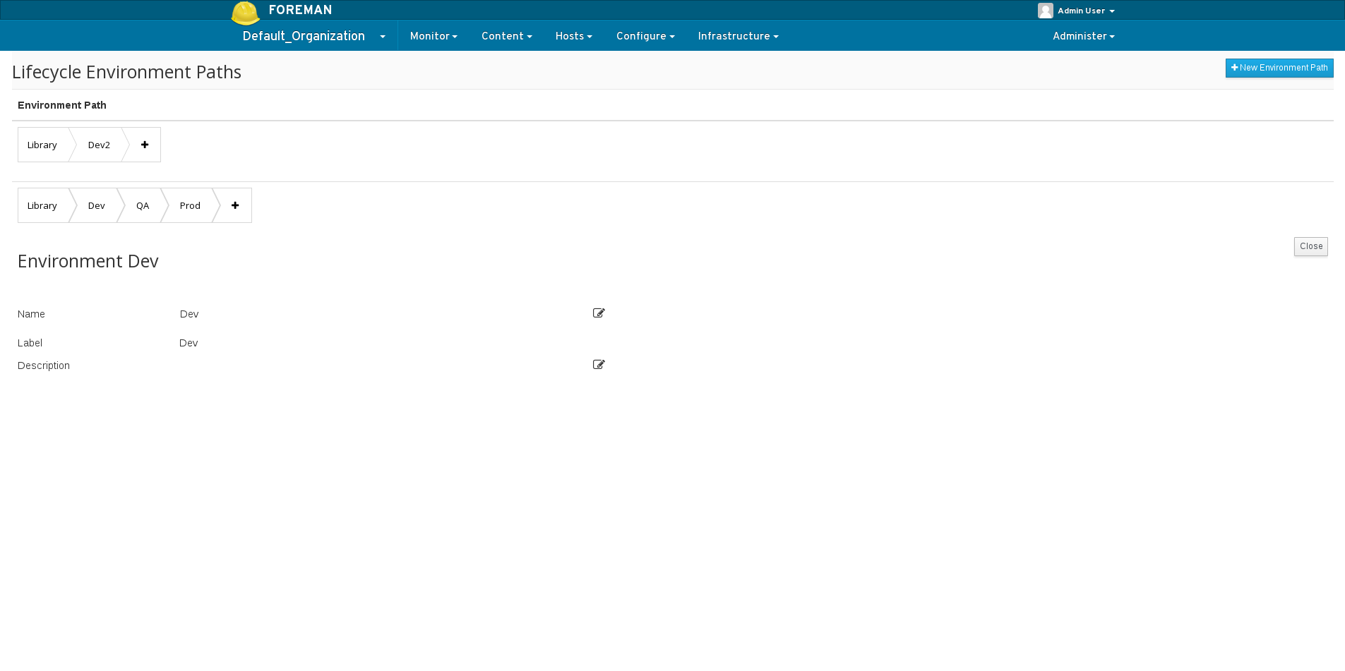 Viewing the details of the lifecycle environment