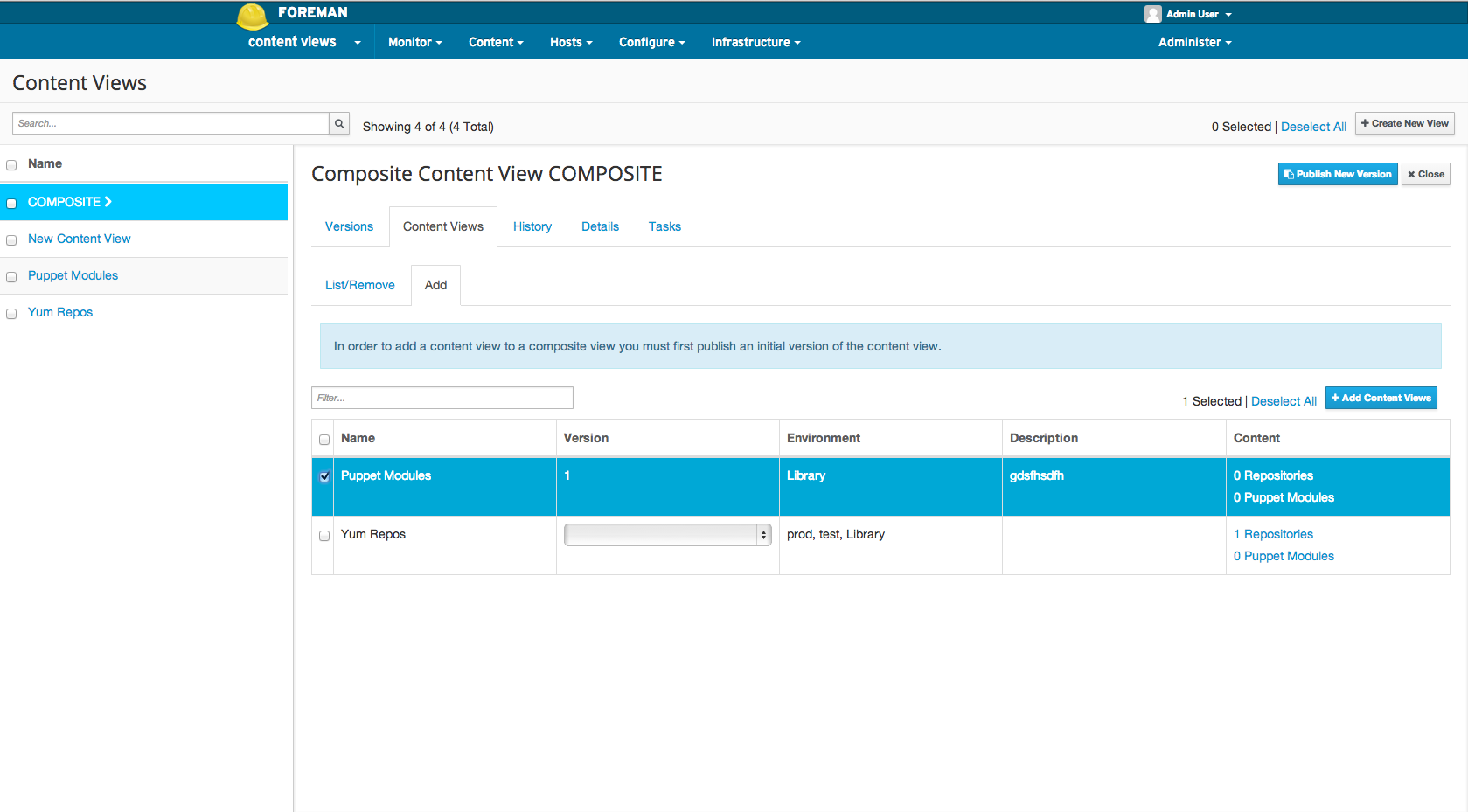 Adding a Content View to a composite Content View 4
